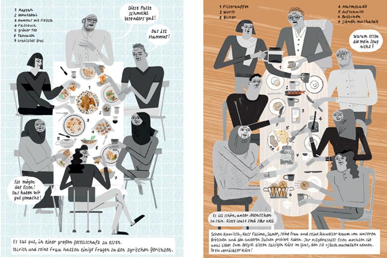 Auszug aus der Comicreportage »Brot, Salz und verrückter Käse« ? Text: Muhammad Al Ajeel; Zeichnungen: Julia Kluge